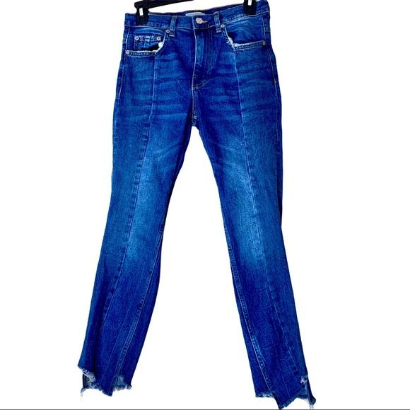Zara Mid Rise Step Hem Skinny Jeans Size 2